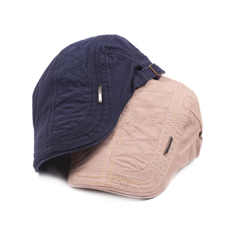 hirigin male Solid Cotton Caps Golf Cabbie Mens denim Berets Newsboy Ivy Hat Driving new fashion Gatsby Sun Flat