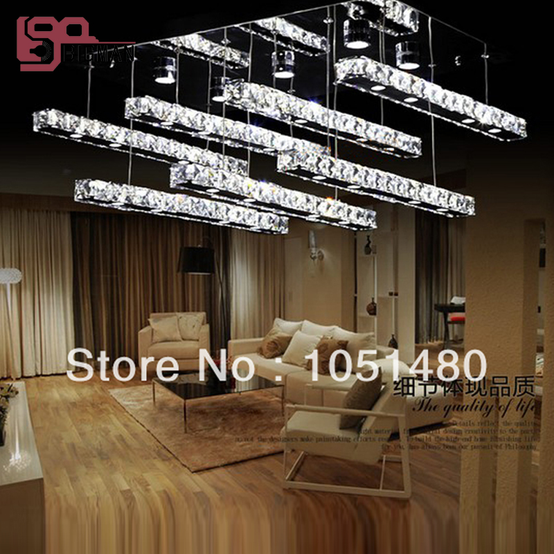hot sales flush mount rectangular LED crystal lamp modern lustre foyer lights
