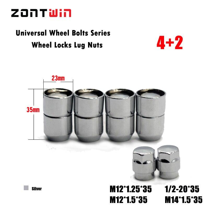 4nuts+2keys M12x1.5 Alloy Wheel Nut Locks, ANTI-SHEFT NUT FOR the wheel/ rims of Corolla/Rav4/Crown/Pardo/Reiz/Hyundai