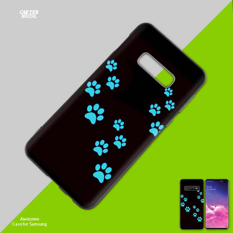 cat Dog paw design Black Silicone Case Cover for Samsung Galaxy S10 S10e 5G S9 S8 S7 S6 Edge J8 J6 J5 J4 Plus 2018