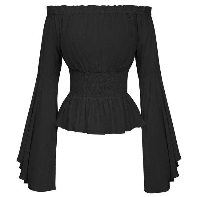 ece51c0f43 Belle Poque Summer Gothic Shirt 2018 Women Solids Shirt Retro Vintage  Renaissance Medieval Gothic Victorian Bell Sleeves Tops