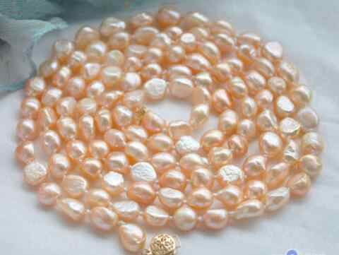 """Natural pearls 50"""" 9-10mm pink baroque freshwater pearl necklace"""