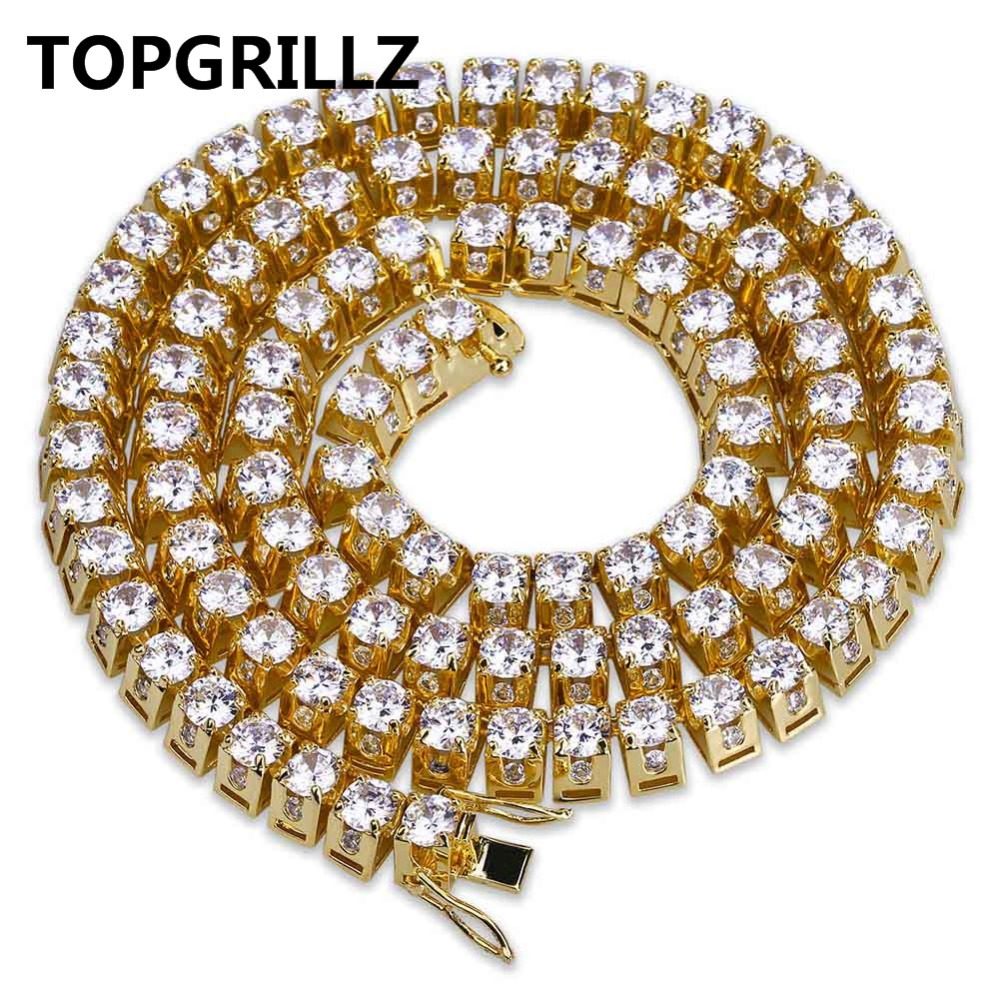TOPGRILLZ Gold/Silver Color Plated Full Iced Out Micro Pave CZ Stone Chain Neckalce Hip Hop Rock Bling Jewelry Six Chain Length jinao gold silver color plated all iced out hip hop copper micro pave cz stone 4mm 6mm tennis chain necklace with 18202430