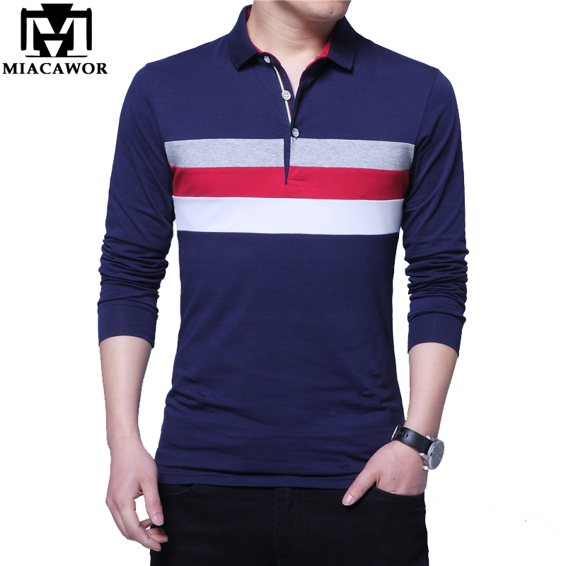 MIACAWOR High Quality Cotton Men Polo Shirt Casual Men Spring Long Sleeve Camisa Polo Plus Size 4XL 5XL Tops&Tees T669
