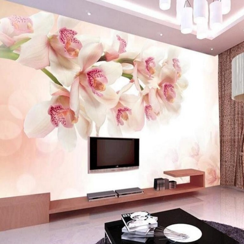 Beibehang 3D photo wallpaper flowers living room TV wall wallpaper backdrop wallcovering large wall mural Modern painting pink romantic sakura reflection large mural wallpaper living room bedroom wallpaper painting tv backdrop 3d wallpaper