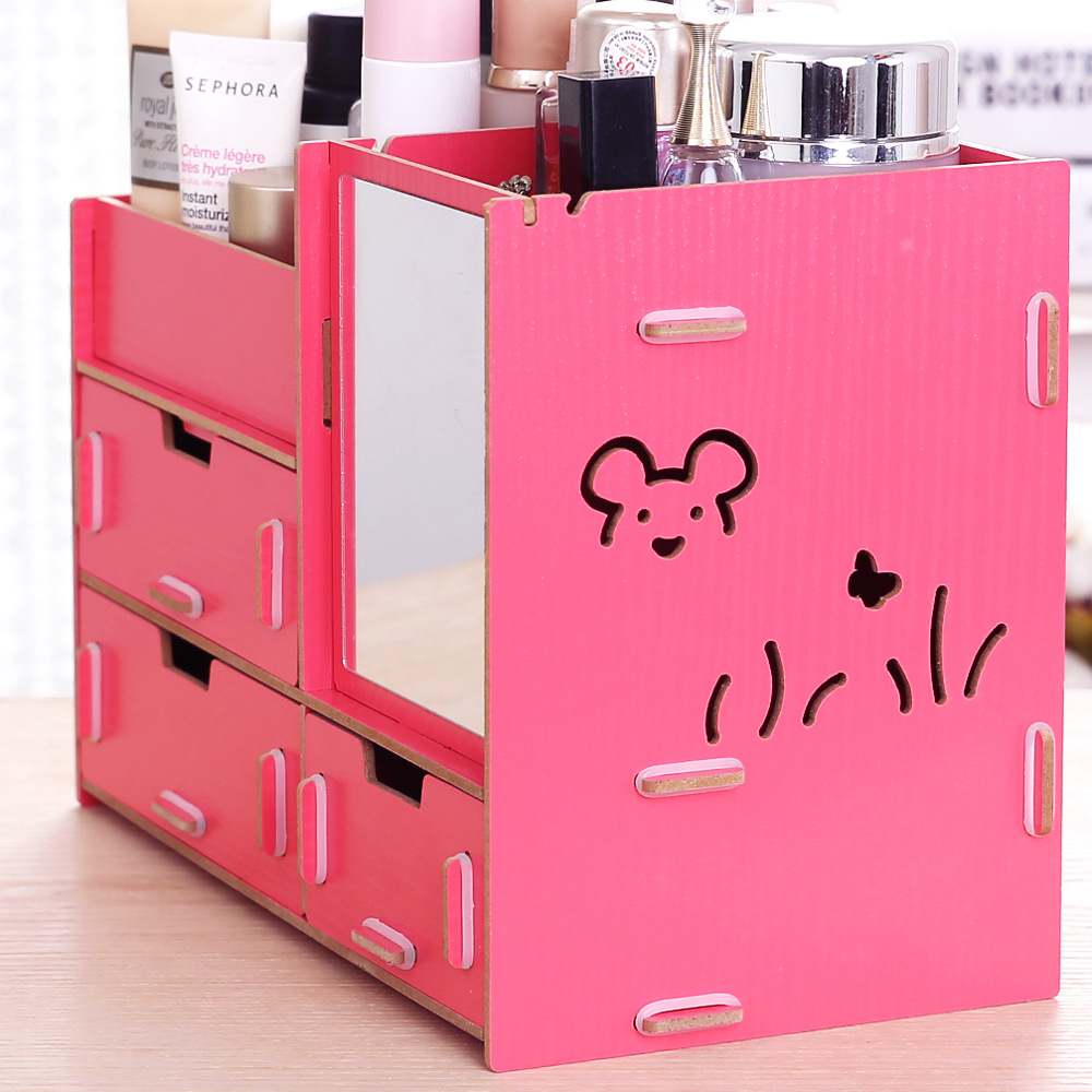 Aliexpress.com : Buy Colorful Wood Makeup Organizer with Mirror ...