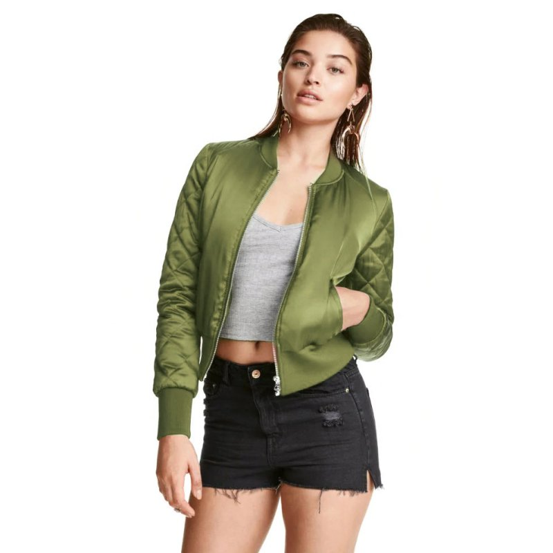 61dbb15d86 Women Autum Clothes Classic Padded Bomber Jacket Ladies Vintage Zip Up  Biker Coat S XL-in Basic Jackets from Women's Clothing on Aliexpress.com |  Alibaba ...