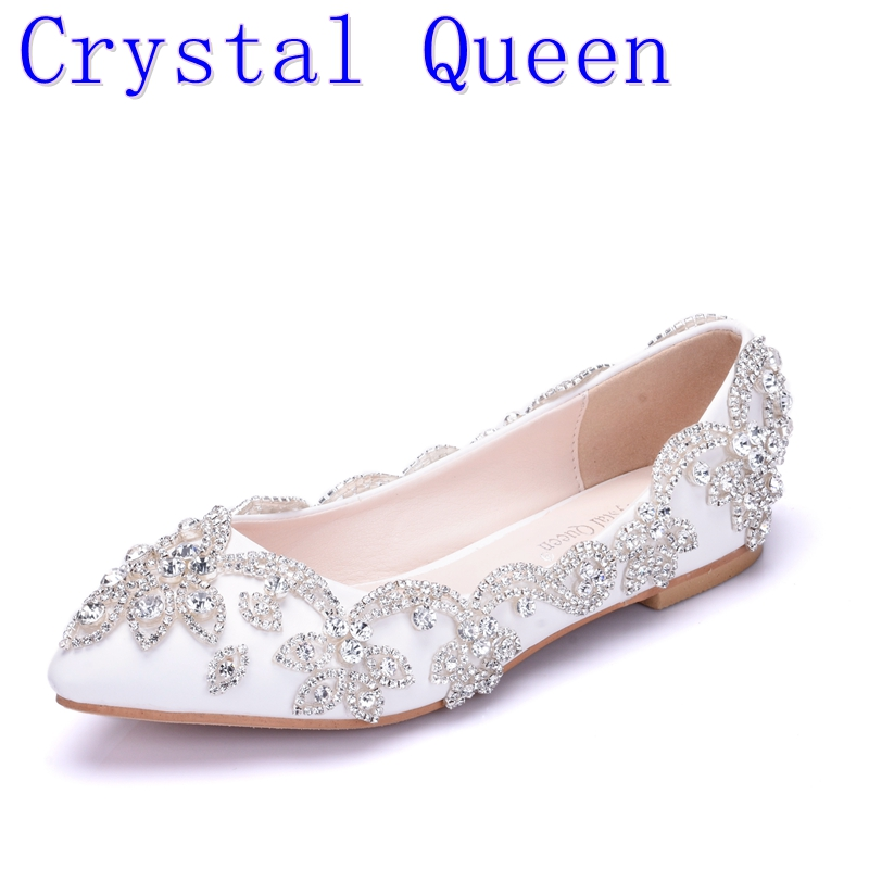Crystal Queen Fashion New White Flats Diamond Wedding Shoes Pointed Toe Shallow Mouth Bride Shoes Women's Party Low Heel Shoes 2017 new fashion spring ladies pointed toe shoes woman flats crystal diamond silver wedding shoes for bridal plus size hot sale