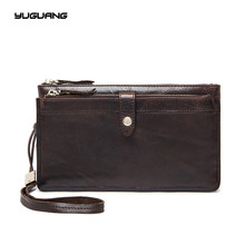 Men's leather wallets wholesale Europe and the United States trend, the first layer of leather zipper, hand bag