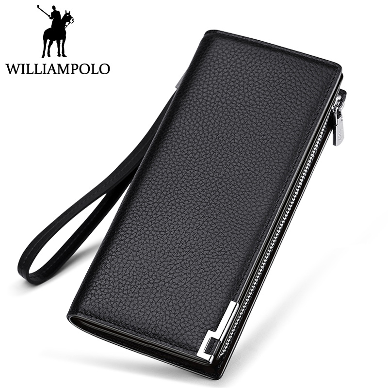 все цены на WILLIAMPOLO Men's Clutch Wallet Handy Strap Clutch Bag Genuine Leather Long Wallet Card Holder 2018 Fashion Plaid Purse For Men