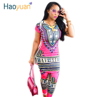 2016 Dashiki Traditional African Clothing Two Piece Set Women Africaine Print Bodycon Dress Pants African Clothes