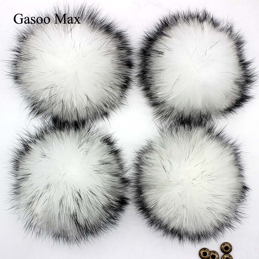5pcs/ Lot DIY 14-15cm Red Black White Grey Raccoon Fur Pom Poms Fur Balls For Beanies Hat Cap Real Fur Pompoms