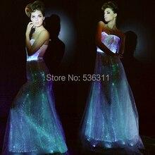 Светящееся вечернее платье, Мода, линия RGB светильник, сексуальное, оптическое волокно, без рукавов, led платье, длина до пола, vestidos для женщин