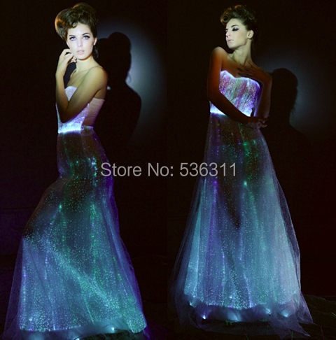 luminous evening party dress fashion 2017 A line RGB light sexy fiber optic sleeveless led dress floor length vestidos women