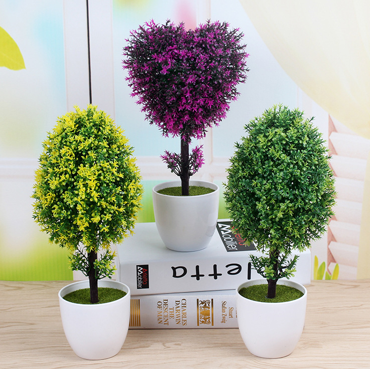 Hot Artificial Plants Bonsai Plastic Simulation Tree Desktop Pot Decorative Fake Flowers Leaves Garden Plant Decor Heart Shape