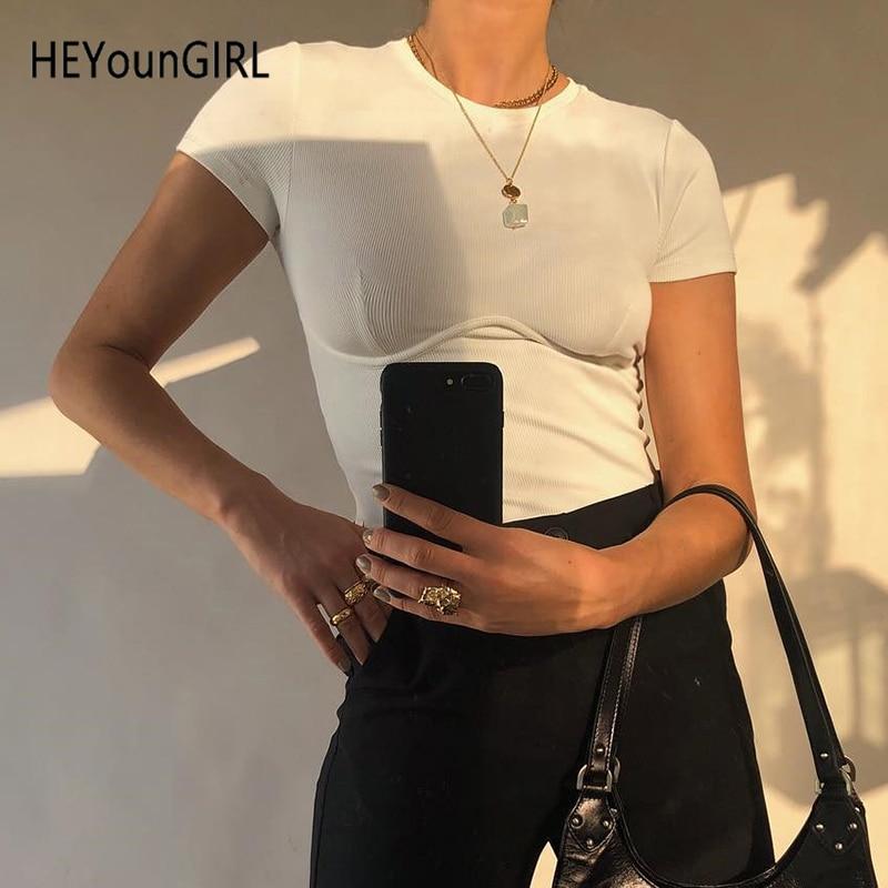 HEYounGIRL Casual Basic White Crop Top T Shirt Elegant Short Sleeve Woman Tshirt Top High Street Cotton Tshirts Women Summer