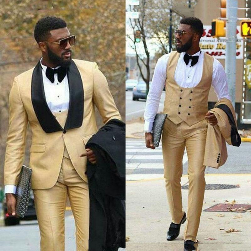 Champagne Men Suits For Wedding Black Shawl Lapel Man Blazer Slim Fit Terno Masculino Costume Homme Groom Wedding Tuxedos 3Piece