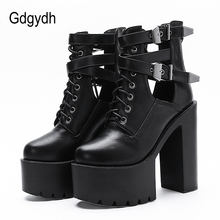 Gdgydh Sexy Buckle Womens Nightclub Shoes High Heels Hollow Out Ankle Boots Platform Heels Gothic Black Leather Short Boots Lady
