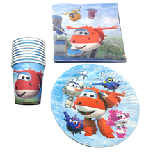 60pcs/lot Boys Favors Superwings Theme Napkins Baby Shower Decoration Tableware Set Happy Birthday Party Cups Plates
