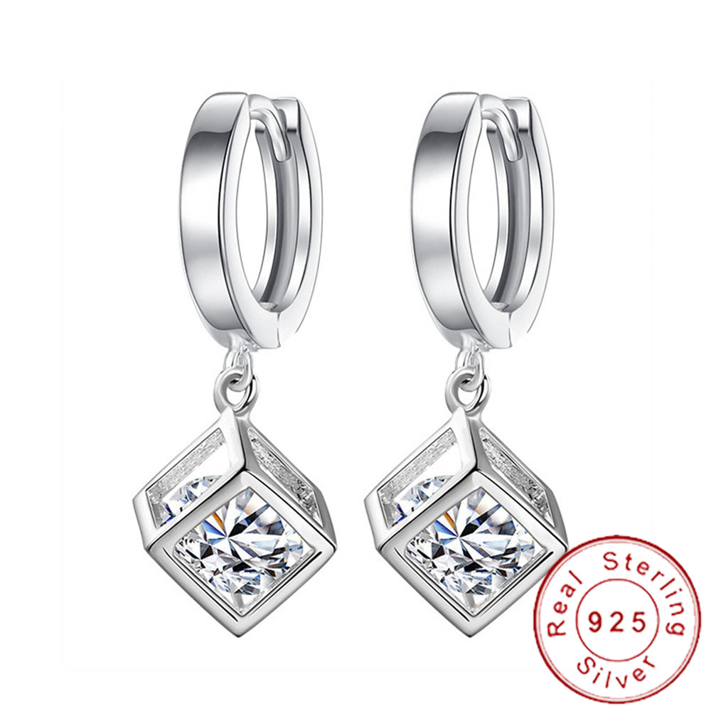 Geometric Crystal Ear Studs 925 Sterling Silver For Women and Girls