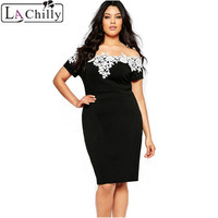 2016 Summer Ladies Lace Crochet Off Shoulder Black Plus Size Pencil Dress LC61083 Vintage Work Wear
