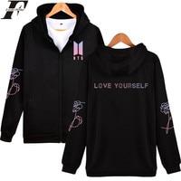 LUCKYFRIDAYF BTS LOVE YOURSELF Zipper Hoodies Sweatshirt Popular Autumn Streetwear Fashion Hoodies Men Women Zipper DNA