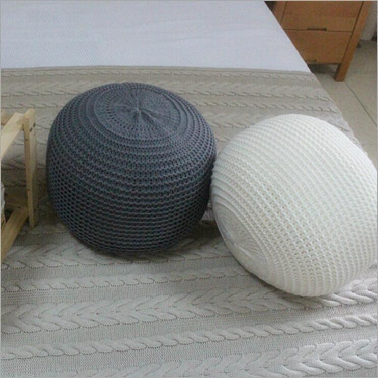 Nuevo estilo de punto de lana cojín redondo PUF en Cojines de Hogar ...