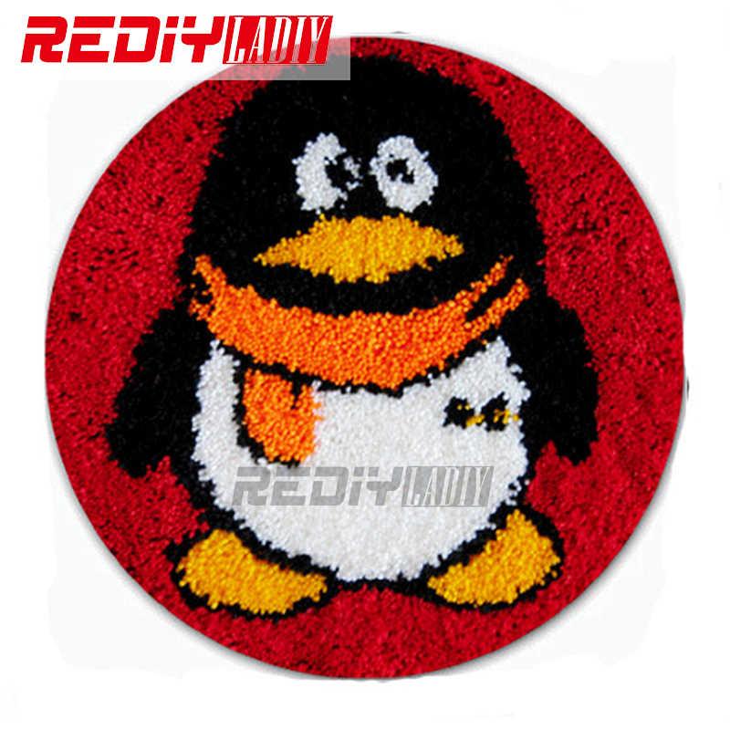FAI DA TE Tappeto Tappetini R Pinguino Gancio di Chiusura Tappetini Kit Uncinetto Arazzo Divano Decor Cuscino Set per il Ricamo Incompiuto Pavimento Zerbino