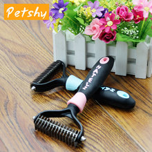 Petshy Pet Knotted Hair Remove Comb Dog Cat Grooming Shedding Trimming Brush Stainless Steel Rake Plastic Handle Combs