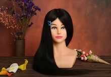 100% Human Hair Hairdressing Dolls Head with Shoulder Training Maniqui For Hairdresser Style Mannequin