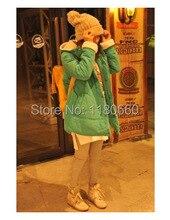 Корейский стиль толстовка зима куртка женщины напыление с подкладкой тёплый без тары длинная куртки пальто свободного покроя пальто XXL