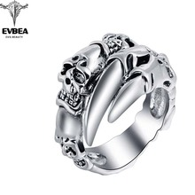 Titanium  Alloy EVBEA Rock Roll Punk Skull Animal Snake Silver Rings Men's Party Jewelry Accessories