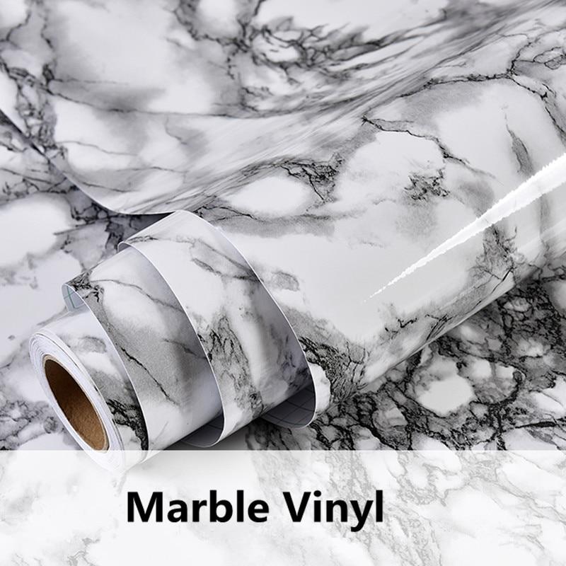 Modern Marble Self Adhesive Wallpaper Kitchen Cupboard Vinyl Paper Furniture Table Shelf Drawer Waterproof Wall Stickers
