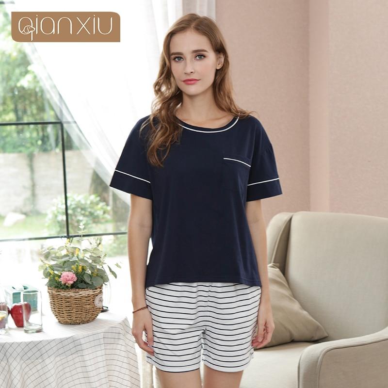 1872 Qianxiu 2018 New sets for women short-sleeve short pants onesie Large size 91872