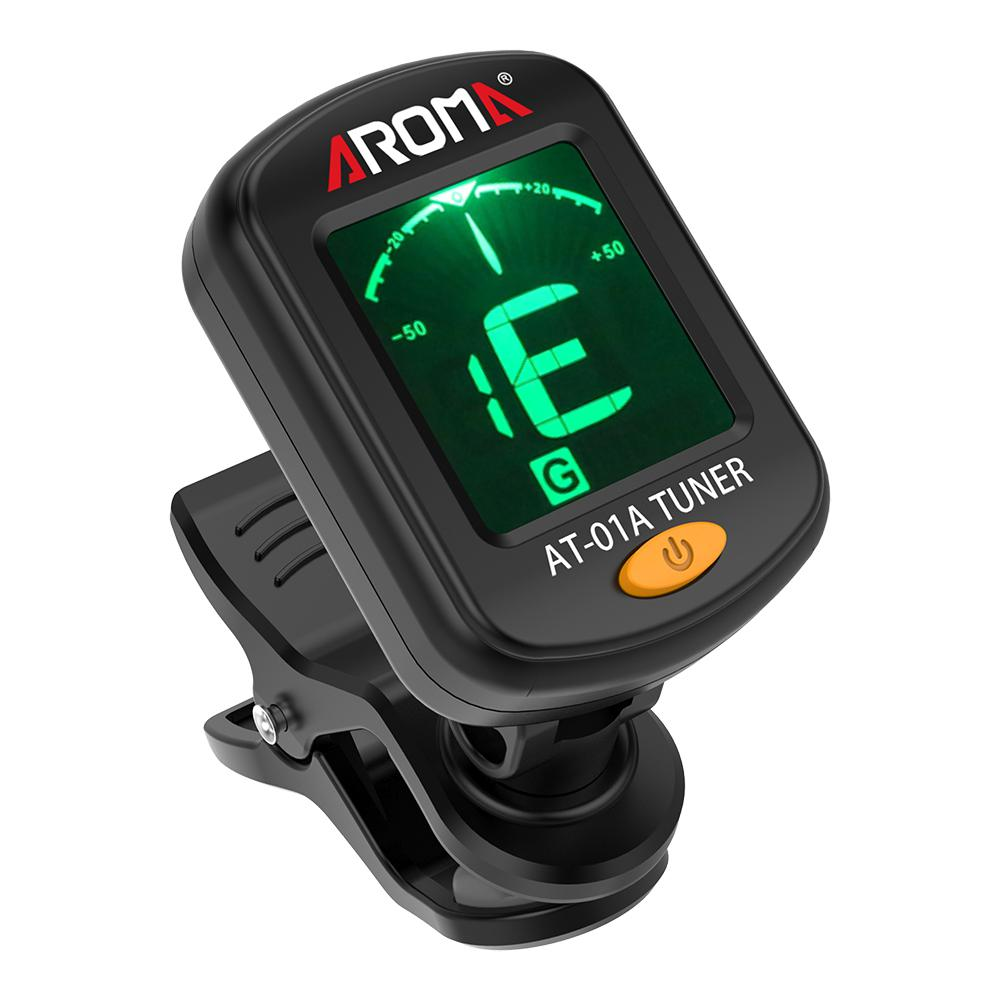 AROMA AT-01A Guitar Tuner Clip-on LCD Display Universal Tuner For Chromatic Guitar Bass Ukulele Violin Guitarra Accessories