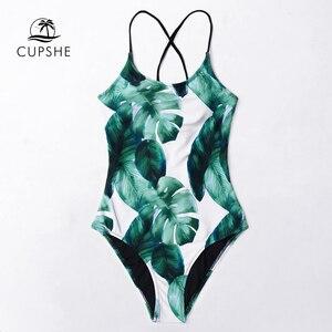 Image 3 - CUPSHE Tropical Leaves Lace Up One Pieceชุดว่ายน้ำผู้หญิงBoho Monokiniชุดว่ายน้ำ 2020 Girlชุดว่ายน้ำชายหาด