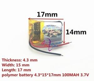 Image 2 - Beste batterie marke 3,7 V polymer lithium batterie 431517 MP3 smart watch 100 mAH Bluetooth headset
