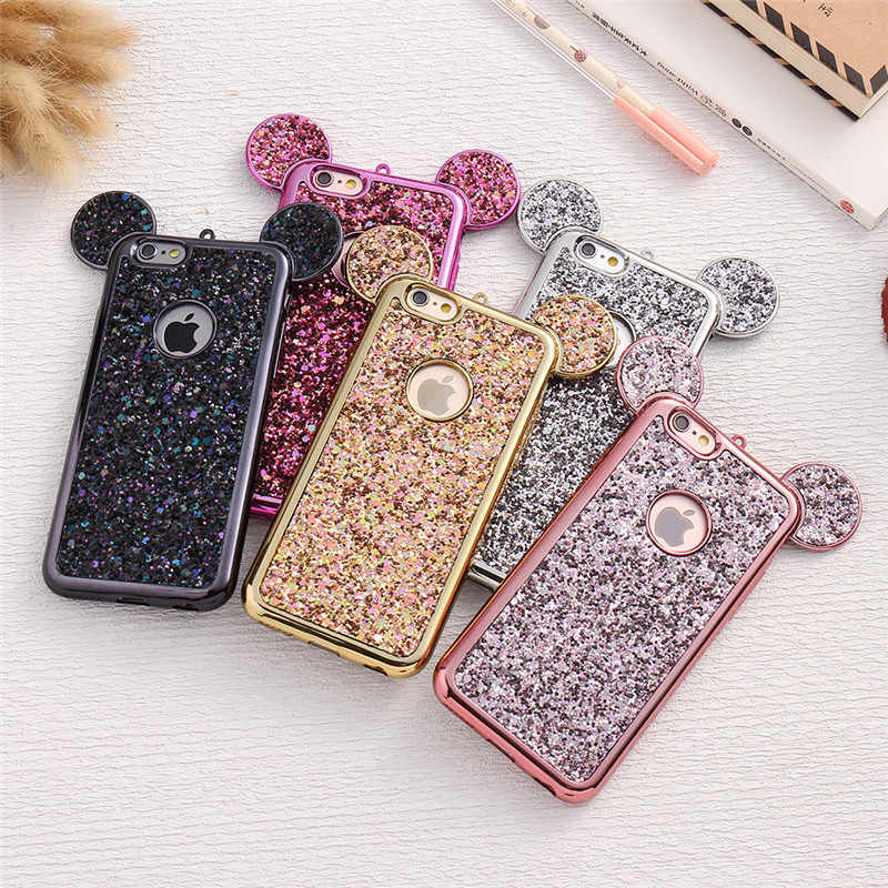 d266785a22e Cute Glitter Mickey Mouse Ear Phone Case For iPhone X 6 6s 7 Plus Case  Colorful