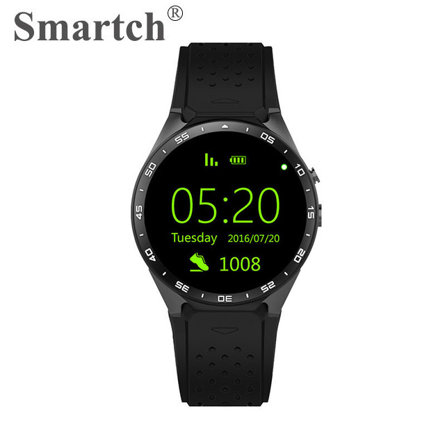 Smartch KW88 Bluetooth Smart Watch,3G Network,WiFi,GPS,SIM Card Support,Round Screen Full Display,Android 5.1 OS,MTK6580 CPU 696 bluetooth android smart watch gt08 plus support camera nano 3g sim card wifi gps google map google play store wristwatch