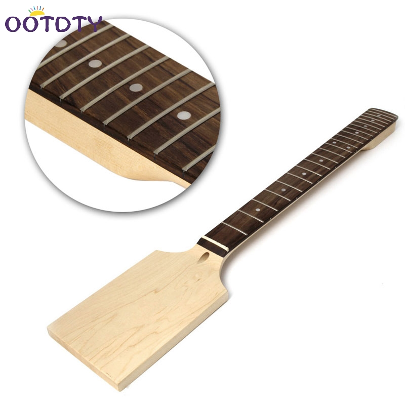 Electric Guitar 22 Fret Neck Paddle Head Maple Wood Bolt Unfinished handmade new solid maple wood brown acoustic violin violino 4 4 electric violin case bow included