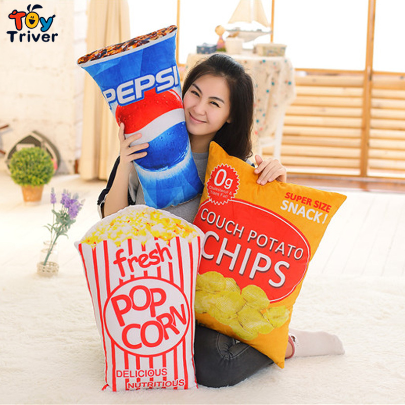 Pop Corn Cola Chips French Fries Snack Plush Toy Stuffed Doll Throw Pillow Sofa Cushion Bar Restaurant  Home Decor Crafts Gift