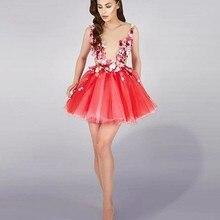 Sexy Mini Floral Korallen Farbe Cocktailkleider Illusion Ausschnitt Kurze Engagement Kleid Blumen Vestido De Festa Curto