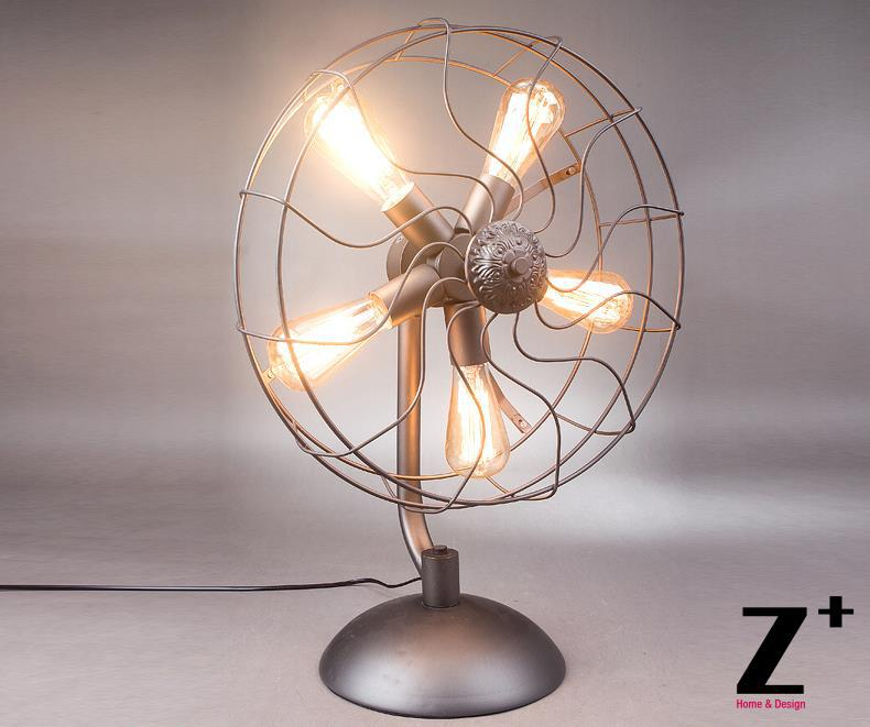 Industrial style American Hand made DIY Grey Iron Fan table lamp free shipping