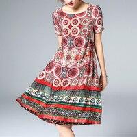 Лето 100% натурального шелка платье инди фолк Стиль набойки Повседневное Пляжные наряды модные Платье с круглым вырезом Для женщин натуральн