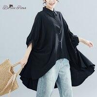 BelineRosa Big Sizes Women Blouses 4XL 5XL 6XL Plus Size Women Clothing Simple Pure Color Irregular Hem Women TopsQY000068