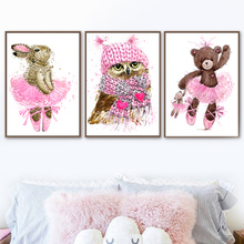 Watercolor Ballet Rabbit Bear Owl Nordic Posters And Prints Wall Art Canvas Painting Wall Pictures Kids Baby Room Home Decor цена
