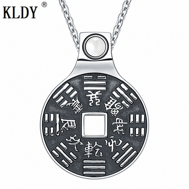 KLDY Yin Yang Necklace men Lucky Coin Amulet pendant BaGua Magic Kanji Forces of Nature Powers White Cat Eye Chinese Necklaces