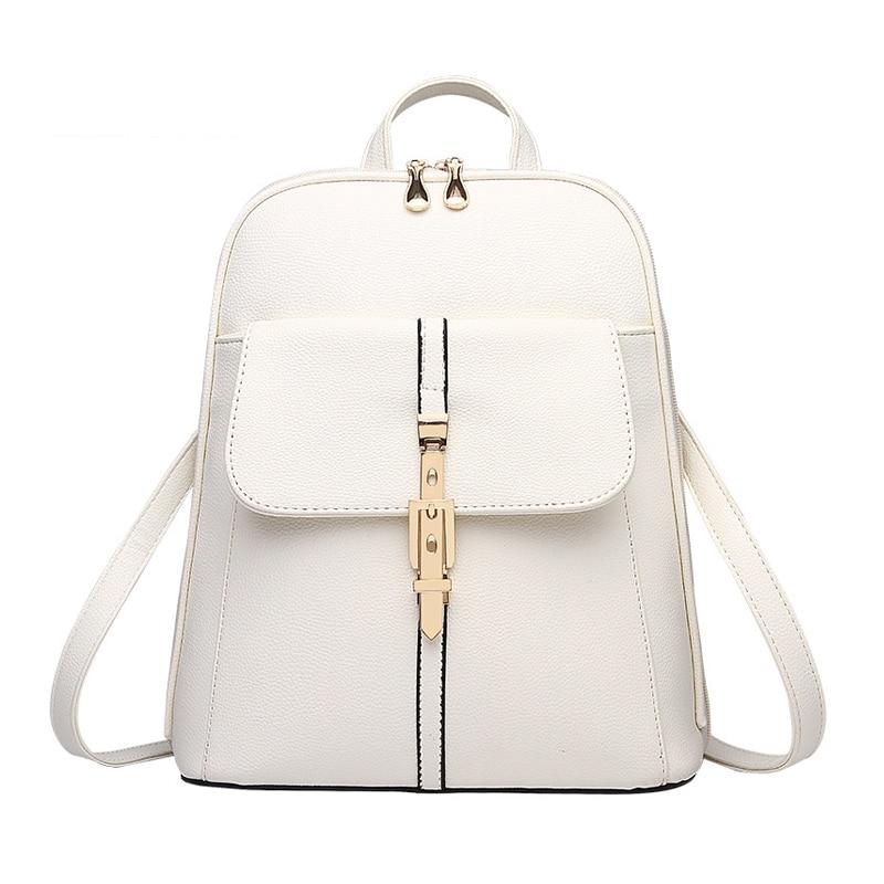 Backpacks Women Backpack School Bags Students Backpack Ladies Women's Travel Bags Leather Package White