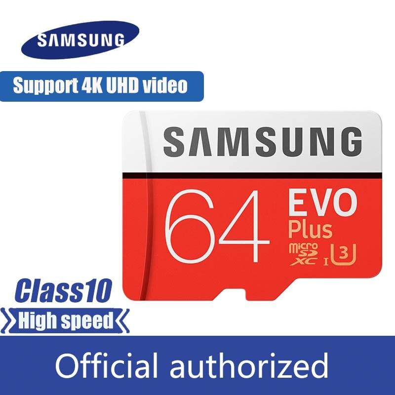 100% Original SAMSUNG Micro carte SD 64 GB u3 carte mémoire EVO Plus 64 GB Class10 TF carte C10 80 MB/S MICROSDXC UHS-1 livraison gratuite