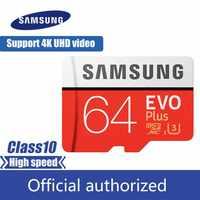 100% oryginalny SAMSUNG Micro SD karty 64 GB u3 karta pamięci EVO Plus 64 GB Class10 karty TF C10 80 mb/s MICROSDXC UHS-1 darmowa wysyłka